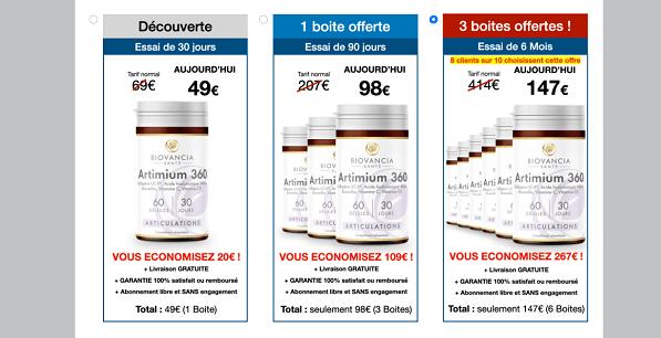 tarif artimium 360